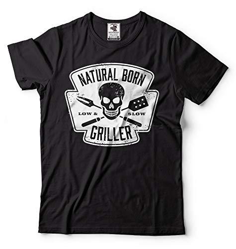 Fashion Summer Style Funny BBQ T-Shirts Natural Born Griller Grilling T-Shirt Campings Shirt Tee Shirt