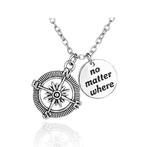 Zilveren-Toon 'Nee Er Toe Doen Waar' Gegraveerd Hanger Ketting 2.0cm Diameter Met 18 Inch Keten Kompas Liefde Vriendin