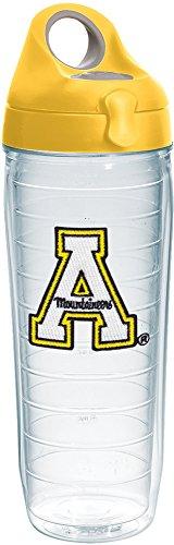 Tervis 1232065 Appalachian State Mountaineers Gobelet isotherme avec emblème et couvercle jaune, bouteille d'eau de 24 oz Transparent