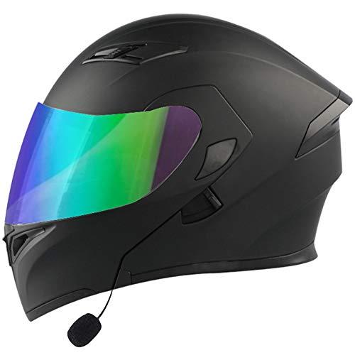 ZLYJ Casco Abatible Delantero para Motocicleta con Bluetooth, Aprobado por ECE, Ligero, para Motocicleta, Doble Visera, Cascos Integrales, Casco Modular contra Choques K,M(57-58cm) 🔥