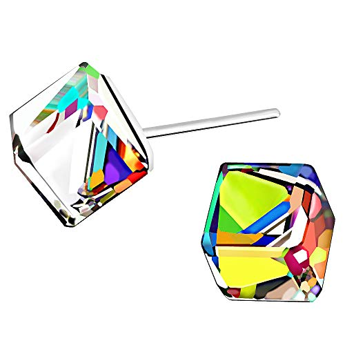 AMOR SPES Color Change Crystal Square S925 Sterling Silver Stud Earrings Women Girl Gifts