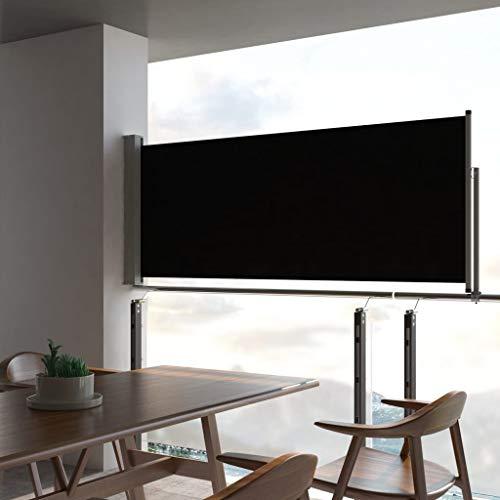 Festnight Ausziehbare Seitenmarkise Sonnenschut Windschutz 100 x 300 cm Schwarzer