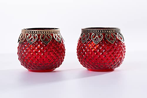 Home&Decorations Lot de 2 Bougeoirs Rouge en Verre Décoratif – Porte Bougie et Supports pour Bougies Chauffe-Plat pour Mariage, Anniversaire, Fête, Dîner