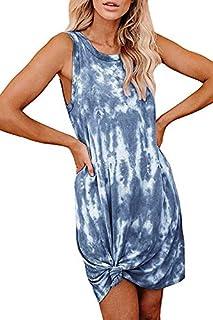 Fixmatti Women Tie Dye Dresses Casual Sleeveless T Shirts Mini Tank Dress