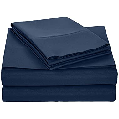 AmazonBasics Microfiber Sheet Set - Queen, Navy Blue