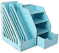 CaiCai ファイル収納ラック, クリエイティブ本棚ドキュメントホルダー文房具がデスクトップストレージボックスファイルの小区画主催ウッドラック - 29x25.5x29cmを(カラー:B1) (Color : D1)