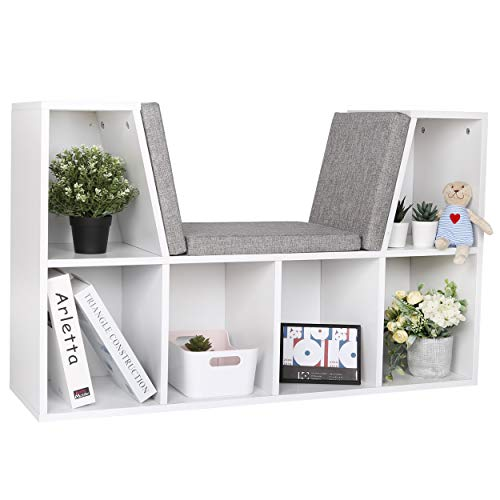 """25"""" Reading Nook Organizer with Cushion , 6-Cubby Kids Bookcase Reading Nook, Wooden Storage Shelf Bookcase for Children Bedroom, White"""
