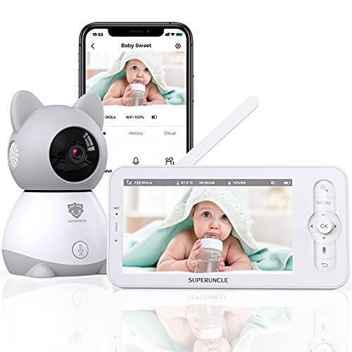 Monitor de Bebé, SUPERUNCLE Vigilabebés con Cámara Vigilancia 1080P, Bebé Monitor con Charla Bidireccional, Visión Nocturna Infrarroja, Sensor Humedad, 1000pies Transmisión Inalámbrico 2,4GHz Modo VOX