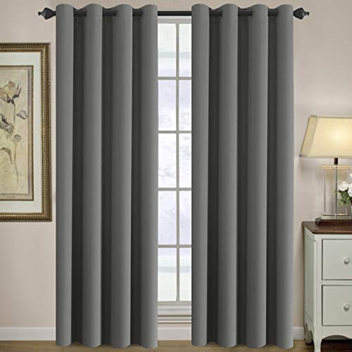Premium Blackout Bedroom Curtains 84 Inches Long Gray Curtain Window Panel Drapes Blackout Room Darkening for Living Room, Grommet Curtains for Door/Window - (Grey Color) - 1 Panel