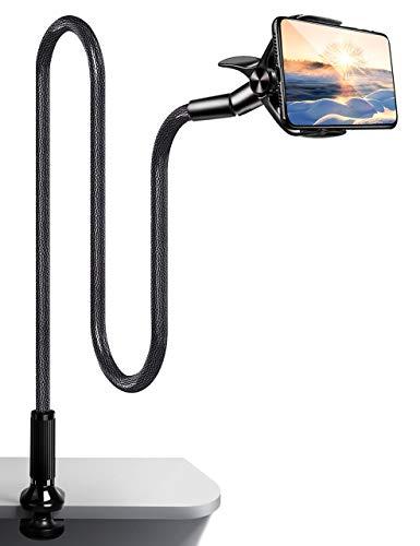 Tsryrlr Handyhalterung Bett,Schwanenhals Halterung Universal Handy Halterung für iPhone 11 Pro XS Max XR X 8 7 6S Plus,Samsung S20 S10 S9 S8 S7, 4.7-7 Zoll Smartphone -Schwarz