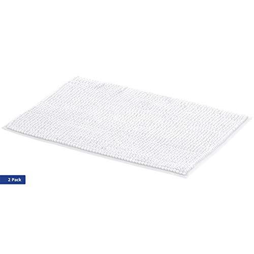 AmazonBasics - Badematte, Chenille-Schlaufen, Memory-Schaum, Weiß, 50 x 80 cm, 2er-Pack