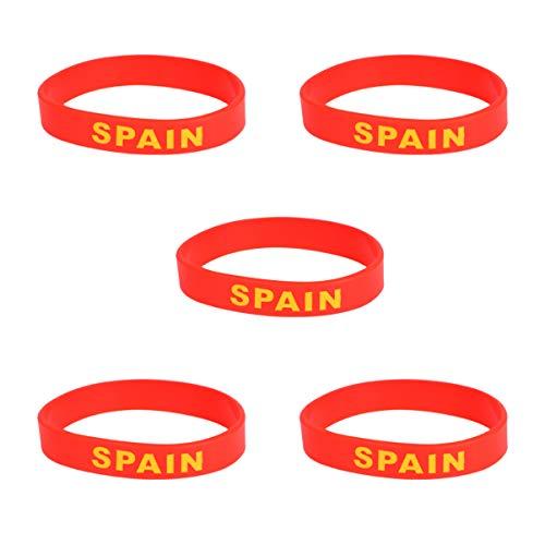 VICASKY 10 Unidades Bandera de España País Pulsera de Silicona Unisex Pulsera de Goma Deportiva de Moda Pulsera para Recuerdo Aficionado Fútbol Fútbol Rugby Baloncesto Atletismo