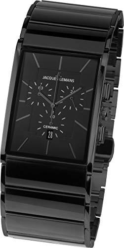 JACQUES LEMANS Herren Analog Quarz Uhr mit Edelstahl Armband 1-1941C