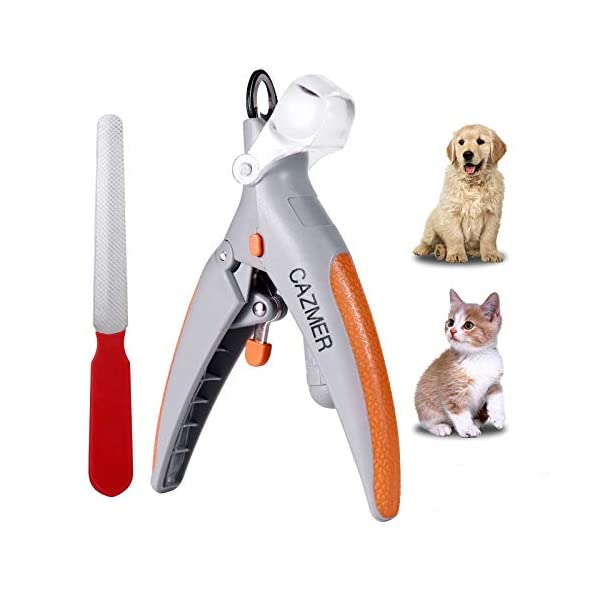 CAZMER Dog Nail Clippers and Trimmer with LED Light and Magnifying Glass, Stainless...