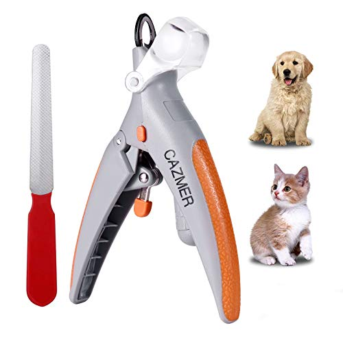 CAZMER Dog Nail Clippers and Trimmer with LED Light and Magnifying Glass, Stainless Steel Blade & Ergonomic Handle, Professional Nail Clippers for Dogs, Cats, Rabbit