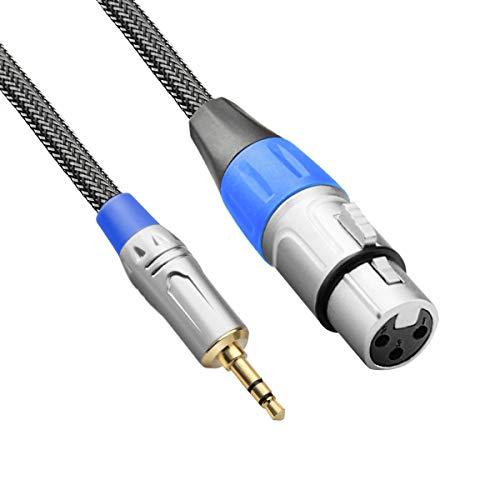 TISINO XLR to 3.5mm Mini Jack Microphone Cable, Nylon Braid Unbalanced XLR Female to 1/8' Mic Lead...