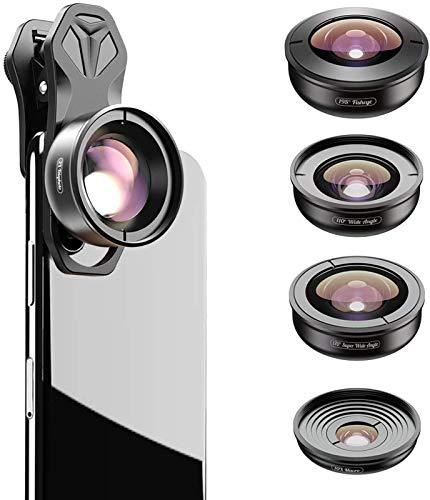 Apexel 5 en 1 kit de lentes para cámara de teléfono celular: 2 x teleobjetivo 195 ojo de pez, 110 gran angular, 10 x Marco+170 Super gran angular para iPhone Samsung ect