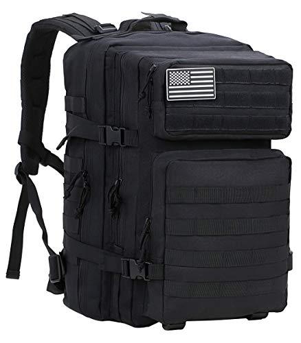 Luckin Packin Tactical Backpack,Military Backpack,Molle Bag 45 Liter Large Black