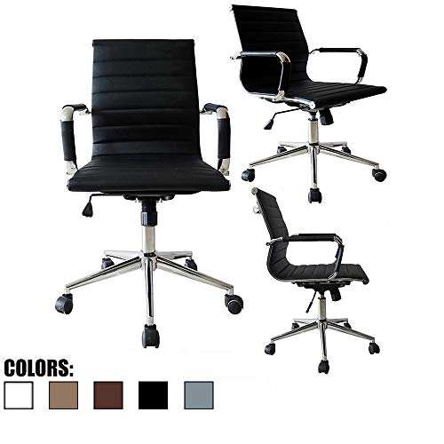 2xhome Mid Century Office Chair with Arms Wheels Modern Desk Chair Ergonomic Executive Chair Mid Back PU Leather Arm Rest Tilt Adjustable Height Swivel Task Computer Conference Room (Black)…