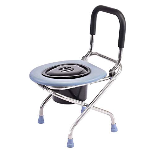 LJZLYB-ZBP Toilettenstuhl, Schlafzimmer WC, Edelstahl Toilettenstuhl, Komfortables Polster for Ältere Menschen/Schwangere/Behinderte