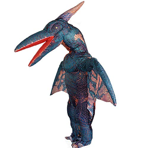 fdalas Pterodactyl Inflatable Costume,Dinosaur Suit Halloween Dino Theme Party Dress,Fantasy Costume for Adult Clothing(Green)