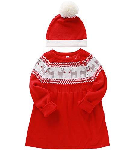 Bambini Ragazze Natale Vestito a Maglia con Cappello Inverno Manica Lunga Maglieria Set di Outfits