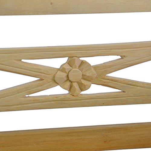 DIVERO Holzbank für Kinder Teak 2-Sitzer Kinderbank Antik Garten mit Schnitzerei - 3