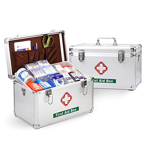 CANDYANA Medicine Container Emergency Medicine Cabinet voor thuiskantoor, home First Aid Box Aluminium First Aid Case Draaghandvat