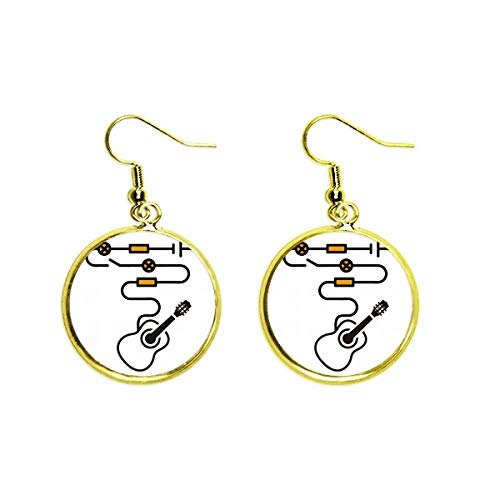 Route Light Instrument Guitar Ear Dangle Golden Drop Earring Jewelry Woman