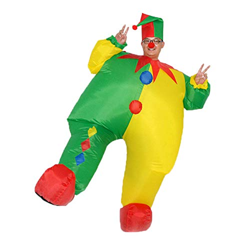 HUAYUARTS Inflatable Costume Clown Game Cloth Adult Funny Blow up Suit Halloween Men's Costume Yellow Cosplay, Plus Size