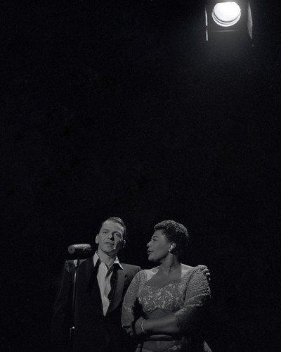 Frank Sinatra Ella Fitzgerald iconic moody b/w portrait in with spotlight 8x10 Promotional Photo