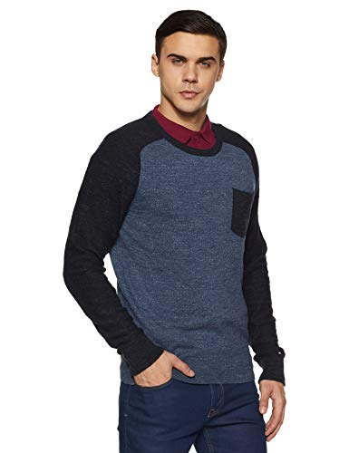 Tommy Hilfiger Men's Cotton Sweater (8907504104253_A6AMS072L_Grisalle Heather and Midnight HTR)
