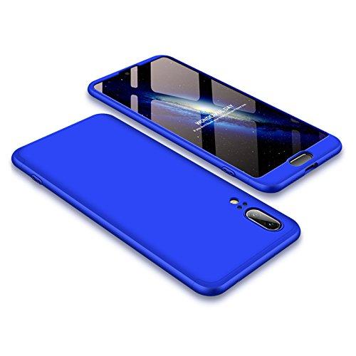 JMGoodstore Funda Compatible Huawei P20,Carcasa Huawei P20,360 Grados Integral Ambas Caras+Cristal Templado, 3 in 1 Slim Dactilares Protectora Skin Caso Cover Azul