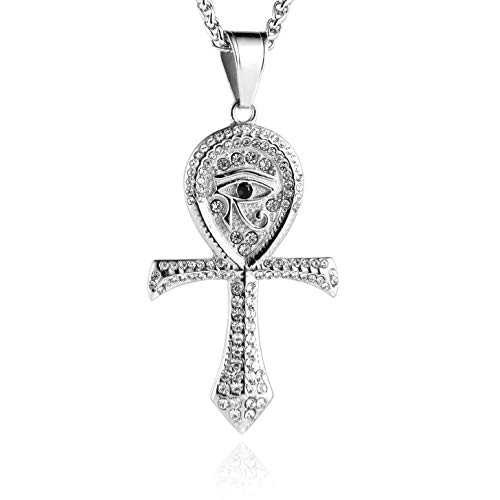 HZMAN CZ Eye of Horus Egypt Protection Pendant Coptic Ankh Cross Religious Stainless Steel Necklace (Silver)