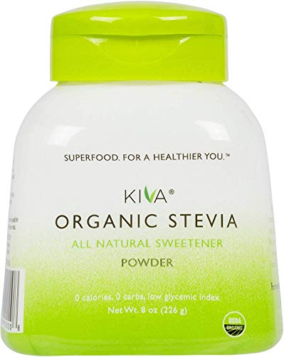 Kiva Organic Stevia Powder (Natural Sweetener - 398 SERVINGS) - Non-GMO, Vegan, Zero-Calories- (Sugar Free, NO AFTERTASTE and GROWN IN USA), 8-Ounce