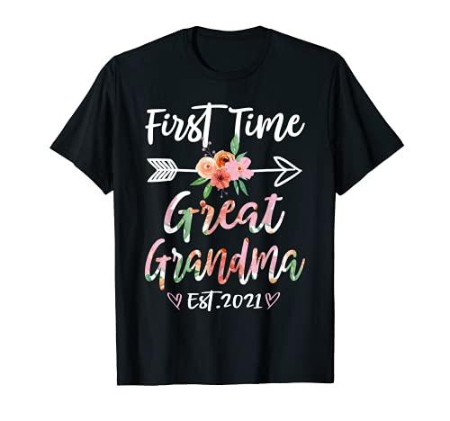 First Time Great Grandma Est 2021 - Regalo de flores Camiseta