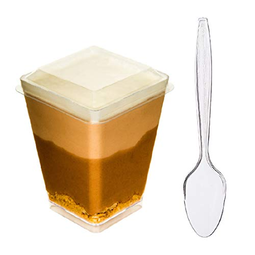 DLux 40 x 5 oz Mini Dessert Cups with Lids and Spoons, Square Large - Clear Plastic Parfait Appetizer Cup - Small Disposable Reusable Serving Bowl for Tasting Party Desserts Appetizers - Recipe Ebook