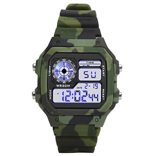 Reloj para hombre Reloj de pulsera multifuncional Reloj digital Impermeable Luminoso electrónico digital, para reloj diario con espejo(Camouflage Army Green)