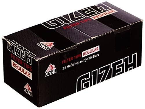 Gizeh 418110043 Black Filter Tips Regular, 24 boekjes x 35 vellen