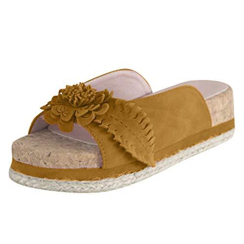 Dorical Damen Roman Slippers Espadrilles Frauen Daisy Übergrößen Flandell Wedge Peep-Toe Hausschuhe Comfort Schuhe Für Casual Strand Outdoor Garten(Z02-Gelb,38 EU)