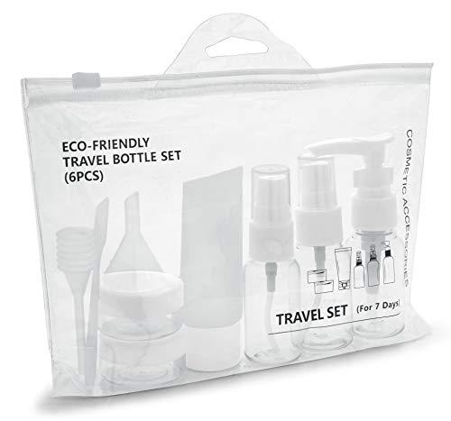 MyGadget Set Bottiglie da Viaggio - Contenitori Portatili da Aereo per Cosmetici Liquidi - Flaconi Trasparenti / Dispenser per Bagaglio a Mano - Tappo Bianco