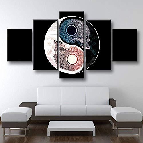 45Tdfc Leinwandbild für Heimdekoration, Yin Yang Black White Skull Terror 5-teilig,modernes Giclée-Gerahmtes Kunstwerk,die Bilder für Wohnzimmer-Dekoration,Fotodrucke auf Leinwand