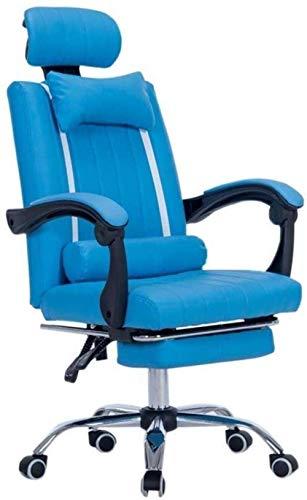 Silla de juego Silla giratoria: silla de juego Silla de carreras Silla de computadora Silla Ejecutiva y silla de reclinación ergonómica con reposacabezas, cojín lumbar y reposapiés retráctil -28336P8L