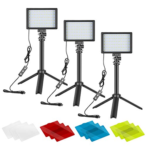 Neewer 3 Pack Kit de Iluminación para Fotografía Portátil Luz de Video LED Regulable 5600K USB 66 Luz de Video LED con Mini Soporte de Trípode Plegable Ajustable y Filtros Color para Grabación Estudio
