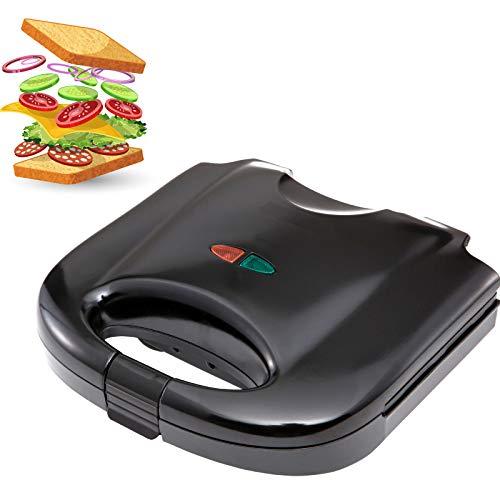 Smartweb Sandwichmaker 850 Watt Sandwichtoaster Campinggrill Antihaftbeschichtete Vegan und Vegetarisch Essen und Kochen abnehmbare Platten Cool Touch Griffe BPA frei Camping Schwarz