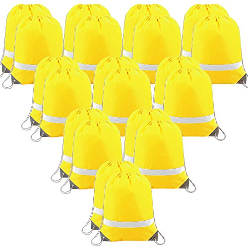20 Pieces Yellow-Drawstring-Backpack-Bags-Reflective Sports Bag, Cinch Bags Gym Sack Pack for Team and School