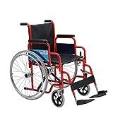 Wheelchair Sillas De Ruedas Plegables Ligeras Moda Compacta Ahorro De Espacio Aleación De Acero Al Carbono Sillas De Ruedas Automotrices Rojo