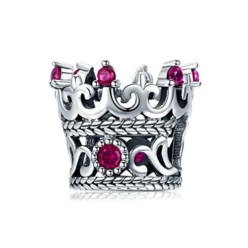 SZKP Encanta Granos, S925 Plata Corona de la Reina DIY Hecho a Mano los Granos Pendientes de joyería Accesorios compatibles con Pandora y Pulseras Europeas Collares