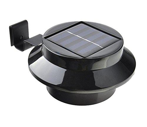 JMENG Outdoor Solar Gutter Lichter 3 LED Solar Zaunpfosten Lichter Wandhalterung Dekorative Deck Beleuchtung mit Auto On/Off Dämmerung bis Morgendämmerung. Solarlampe (Farbe : Schwarz)