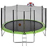 Outdoor Trampoline Sports Trampoline 16ft Premium Trampoline with Safety Enclosure Netting and Ladder Edge Cover Jumping Mat Trampoline Set,